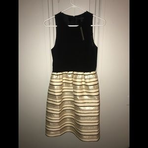 J-Crew black and gold dress with thick straps